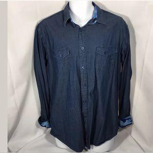 Thomas Dean Dress Casual Flip Cuff Collar Shirt L